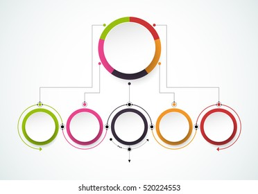 Vector infographics design template with 3D paper label, integrated circles background. Blank space for content, business, infographic, diagram, digital network, flowchart, process diagram