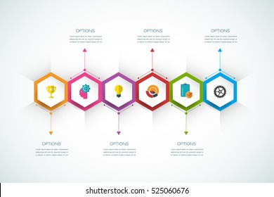 Vector infographics design template with 3D paper label, integrated hexagon background. Blank space for content, business, infographic, diagram, digital network, flowchart, process diagram, timeline