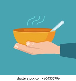 Vector infographics design template and illustration - food sharing - giving food for the poor and refugees - emblem for charity and volunteer organizations feeding people