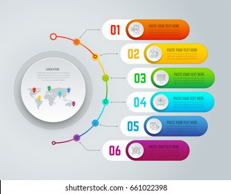Vector infographics designed to explain or present your information in six horizontal blocks