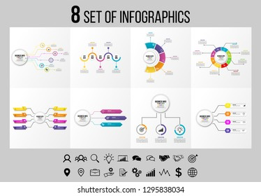 Vector Infographics Elements Design Template. Business Data Visualization Infogra`phics Timeline with Marketing Icons most useful can be used for workflow, presentation, diagrams, reports