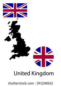 Vector infographics map of United Kingdom. Map, button and flag isolated on white background.
