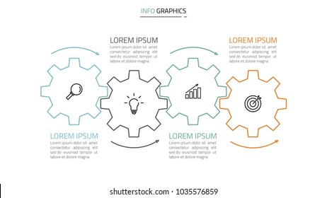 Vector Infographics and marketing icons.Timeline with 4 steps, cogs, arrow. Vector linear  element.