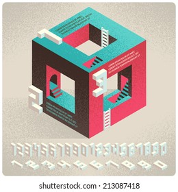 Vector infographics options set for business presentation. Isometric cube with digits font