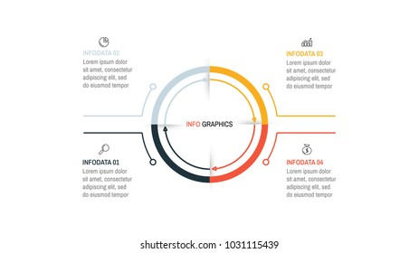 Vector infographics process line with arrows. Business concept with 4 steps, options. Can be used for presentations, workflow, diagram, report.