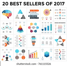 Vector infographics set. 20 best sellers of 2018. Business diagrams, arrows graphs, startup presentations and idea charts.
