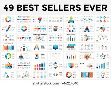 Vector infographics set. 49 slides. Circle diagrams, arrows graphs, creative infographic presentations and idea charts. Medicine, education, business, marketing, startup, maps. Creative info graphic.