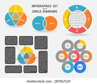 Vector infographics set of circle diagrams, venn diagrams, diagrams with percentage