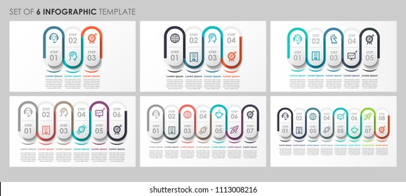 Vector Infographics set with icons and 3, 4, 5, 6, 7, 8 options or steps. Business concept. Can be used for presentations banner, workflow layout, process diagram, flow chart, info graph