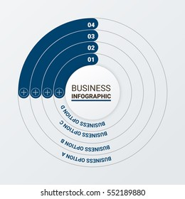 Vector infographics set. Template for cycle diagram, graph, presentation and round chart. Business concept, parts, steps or processes. Marketing data brochure.