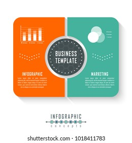 Vector infographics template for chart, diagram, web design, presentation, workflow layout. Business concept with 2 options, parts, steps or processes
