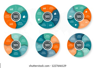 Vector infographics template for chart, diagram, web design, presentation, workflow layout. Business concept with 3, 4, 5, 6, 7, 8 options, parts, steps or processes