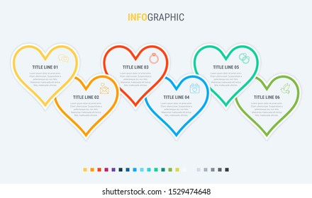 Vector infographics timeline design template with hearts elements. Content, schedule, timeline, valentines day, mothers day, flowchart. 6 steps infographic.
