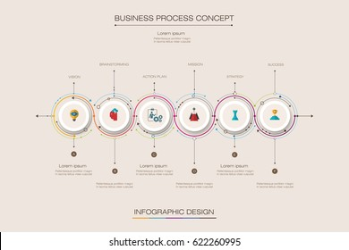 Vector infographics timeline design template with label design and 6 options or steps. Can be used for content, business, process infographics, diagram chart, flowchart, process diagram, time line
