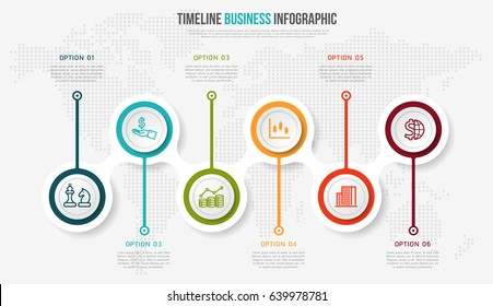 Vector infographics timeline design template with 3D paper label, integrated circles background. Timeline infographic design vector and marketing icons.