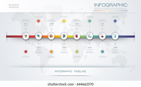 Vector infographics timeline design template with 3D paper label and graph 8 steps options. For workflow layout diagram, infograph business, infographic, flowchart, process diagram, time line, chart