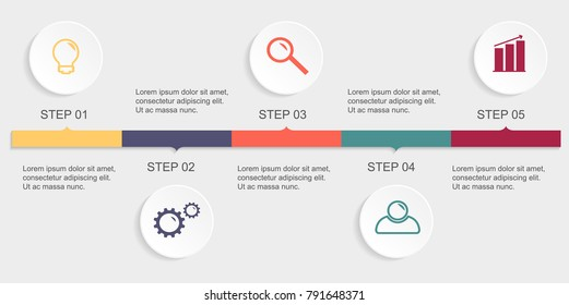 Vector infographics timeline design template with 3D paper circles. Blank space for content, business, infographic, diagram, flowchart, process, diagram, time line
