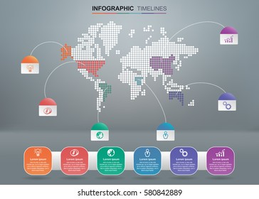 Vector infographics timeline map design template integrated on gray background. Blank space for content, business, diagram, flowchart, diagram, time line or steps process