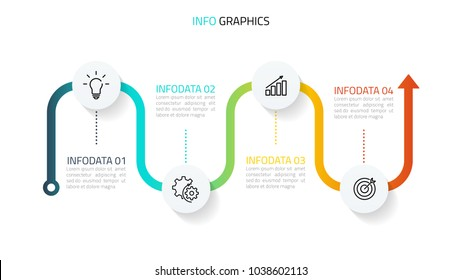 Vector infographics. Timeline with marketing icons for 4 step, options, can be used for annual report, presentation.
