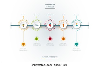 Vector infographics timeline template with 3D paper label and 5 options or steps, integrated circles background. For content, business, infographic diagram,  flowchart, process diagram, time line