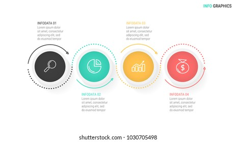 Vector Infographics.Timeline with 4 steps or options,circles and marketing icons can be used for workflow layout, diagram, report, web design and presentation.Vector linear element.