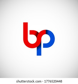 Vector Initial letter bp lowercase linked red blue logo isolated on white background. Modern design.