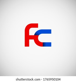 Vector Initial letter fc lowercase linked red blue logo isolated on white background. Modern design.