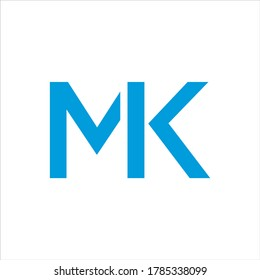 Vector Initial letter MK uppercase linked blue logo isolated on white background.