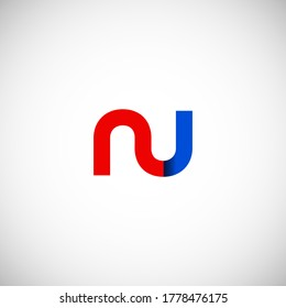 Vector Initial letter nu lowercase linked red blue logo isolated on white background. Modern design.