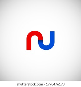 Vector Initial letter ru lowercase linked red blue logo isolated on white background. Modern design.