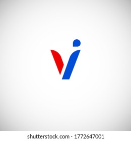Vector Initial letter vi lowercase linked red blue logo isolated on white background. Modern design.