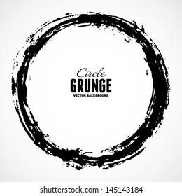 Vector ink grunge circle frame