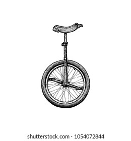 Vector ink hand drawn illustration of unicycle in vintage engraved style.