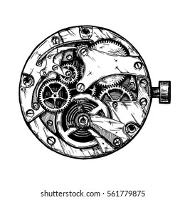Vector ink hand drawn illustration of clockwork. Black and white. isolated on white.