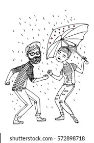 vector ink hand drawn illustration of a couple dancing in the rain
