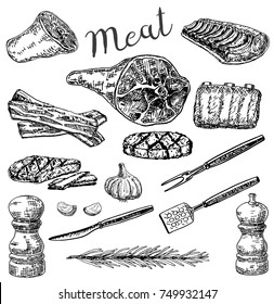 Vector ink hand drawn meat products set. Meat, bacon, herb and spices vintage sketch illustration for recipe, menu and print.