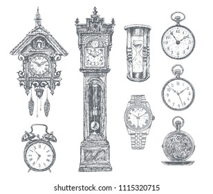 Vector ink hand drawn set. Key-wound shelf cuckoo, wake-up call, pendulum clock, hourglass, wristwatch, pocket watches. Clock and watch time, doodle stopwatch. Vintage Engraving illustration