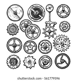 Vector ink hand drawn set of gear wheels. Black and white illustration. isolated on white.