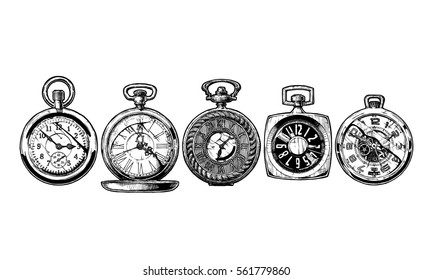 Vector ink hand drawn set of pocket watches. Black and white illustration. isolated on white.