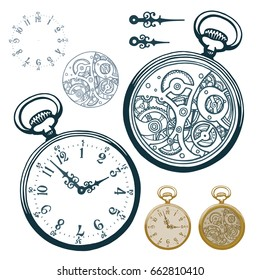 Vector ink hand drawn set of antique pocket watch with clock face and mechanism Black and white illustration isolated on white.