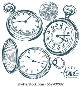 Vector ink hand drawn set of antique pocket watches.  Black and white illustration isolated on white.