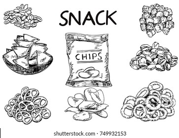 Vector ink hand drawn style snack and junk food set. Nachos, potato chips, onion rings, crackers, almonds and pistachio vintage sketch illustration for menu, print.