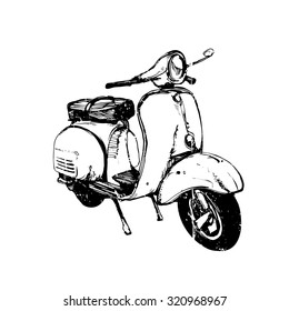Vector ink illustration, hand graphics - Vespa scooter