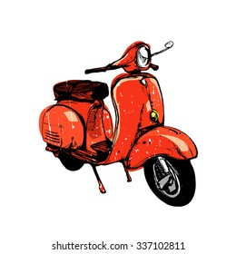 Vector ink illustration, hand graphics - Old red scooter