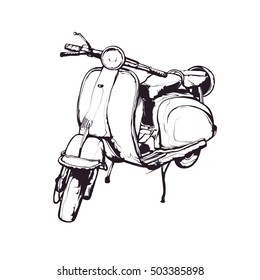 Vector ink illustration, hand graphics - Old scooter