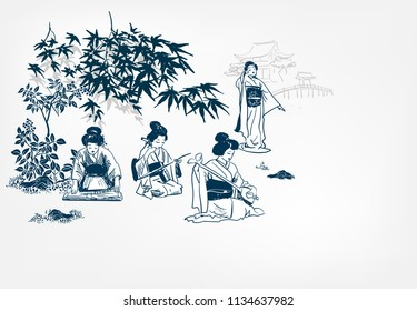 vector ink illustration sketch japanese chinese style line art design  kimono girl plays music and dances under maple japan view traditional autumn