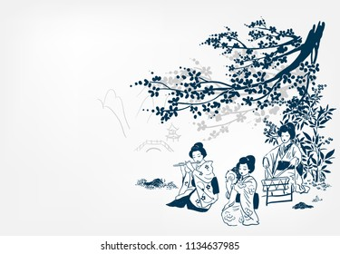 vector ink illustration sketch japanese chinese style line art design  kimono girl plays music and dances under sakura japan view traditional spring