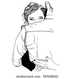 Vector ink illustration of staying holding couple. Girl with long hair tied back. She holding him closely in her arms. Love postcards, fashion illustration, Valentine's day, Wedding