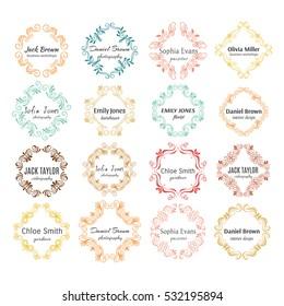 Vector ink  logo template collection. Flower, floral hand sketched shapes for branding design.