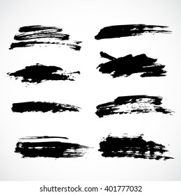 Vector ink paint brushes stoke grunge black template
